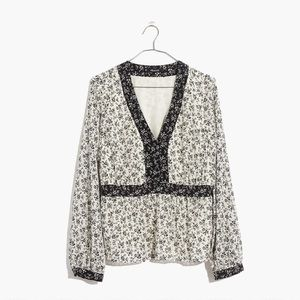 Madewell Clipdot Branch Floral V-Neck Peplum Top